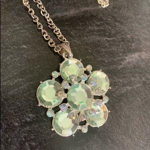 Frosty green flower necklace